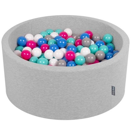 KiddyMoon Baby Foam Ball Pit 90x40 with Balls 7cm/ 2.75in Certified, Light Grey: White/ Grey/ Blue/ Dark Pink/ Lt Turquoise