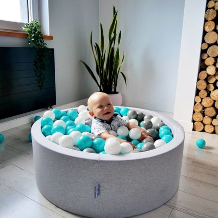 KiddyMoon Baby Foam Ball Pit 90x40 with Balls 7cm/ 2.75in Certified, Light Grey: White/ Grey/ Light Turquoise