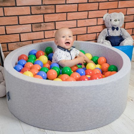 KiddyMoon Baby Foam Ball Pit 90x40 with Balls 7cm/ 2.75in Certified, Light Grey: Yellow/ Green/ Blue/ Red/ Orange