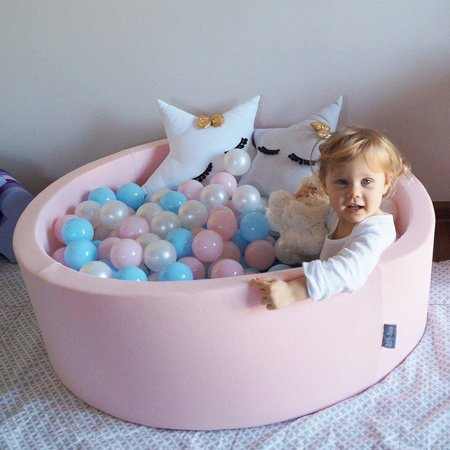 KiddyMoon Baby Foam Ball Pit 90x40 with Balls 7cm/2.75in Certified, Pink:Baby Blue/Light Pink/Pearl