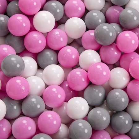 KiddyMoon Baby Foam Ball Pit 90x40 with Balls 7cm/ 2.75in Certified, Pink: Grey/ White/ Pink