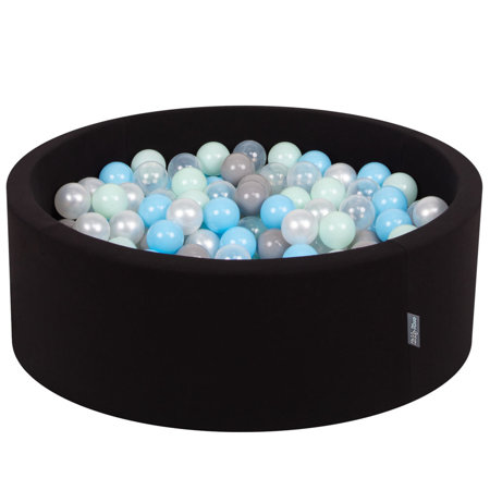 KiddyMoon Baby Foam Ball Pit with Balls 7cm /  2.75in Certified, Black: Pearl/ Grey/ Transparent/ Babyblue/ Mint