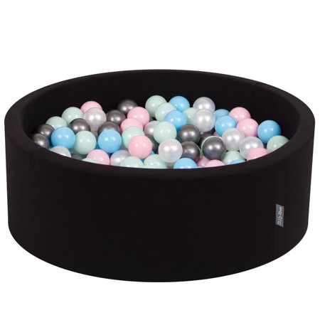 KiddyMoon Baby Foam Ball Pit with Balls 7cm /  2.75in Certified, Black: Pearl/ Light Pink/ Babyblue/ Mint/ Silver