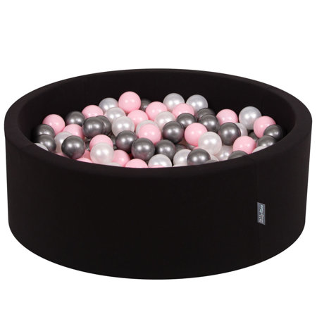 KiddyMoon Baby Foam Ball Pit with Balls 7cm /  2.75in Certified, Black: Pearl/ Light Pink/ Silver