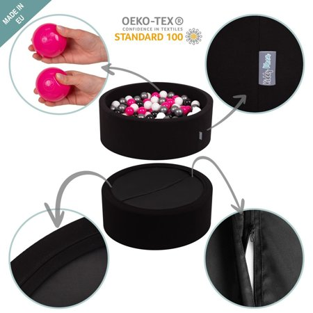 KiddyMoon Baby Foam Ball Pit with Balls 7cm /  2.75in Certified, Black: White/ Grey/ Black/ Gold