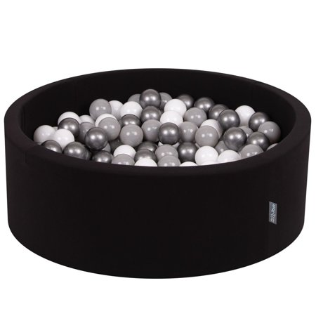 KiddyMoon Baby Foam Ball Pit with Balls 7cm / 2.75in Certified, Black:White/Grey/Silver