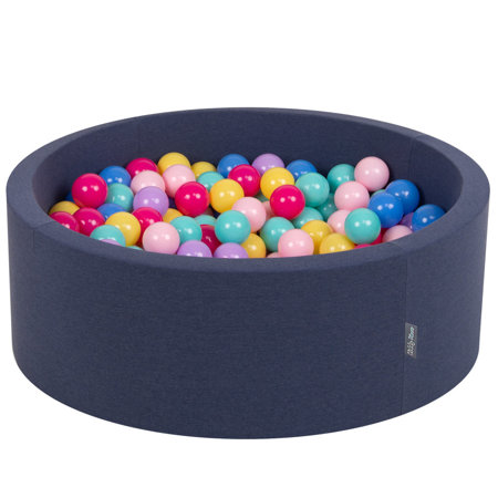 KiddyMoon Baby Foam Ball Pit with Balls 7cm / 2.75in Certified, D.Blue:D.Pink/L.Pink/Lilac/Blue/L.Turquoise/Yellow