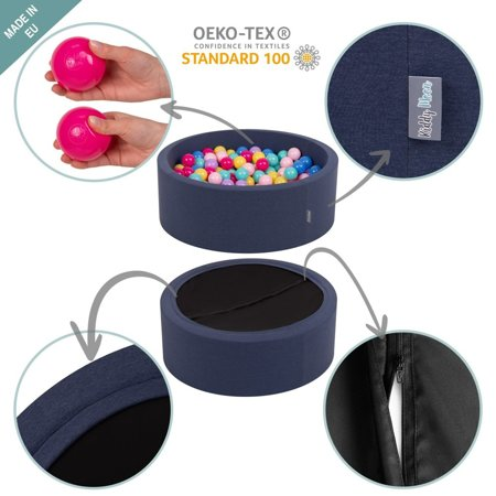 KiddyMoon Baby Foam Ball Pit with Balls 7cm /  2.75in Certified, D.Blue: L.Green/ Yellw/ Turquois/ Orange/ D.Pink/ Purple