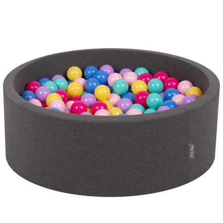 KiddyMoon Baby Foam Ball Pit with Balls ∅ 7cm / 2.75in Certified, D.Grey:D.Pink-L.Pink-Lilac-Blue-L.Turquoise-Yellow