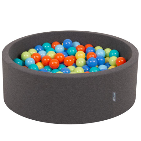 KiddyMoon Baby Foam Ball Pit with Balls 7cm /  2.75in Certified, D.Grey: L.Green/ Orange/ Turquois/ Blue/ Babyblue/ Yellw