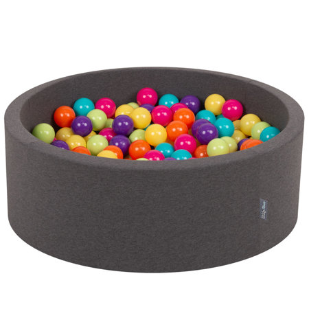 KiddyMoon Baby Foam Ball Pit with Balls ∅ 7cm / 2.75in Certified, D.Grey:L.Green-Yellw-Turquois-Orange-D.Pink-Purple