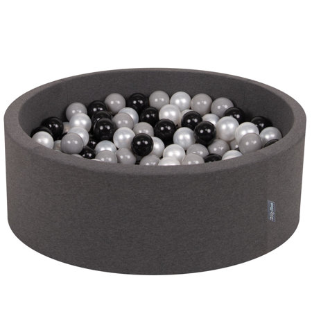 KiddyMoon Baby Foam Ball Pit with Balls 7cm /  2.75in Certified, Dark Grey: Black/ Grey/ Pearl