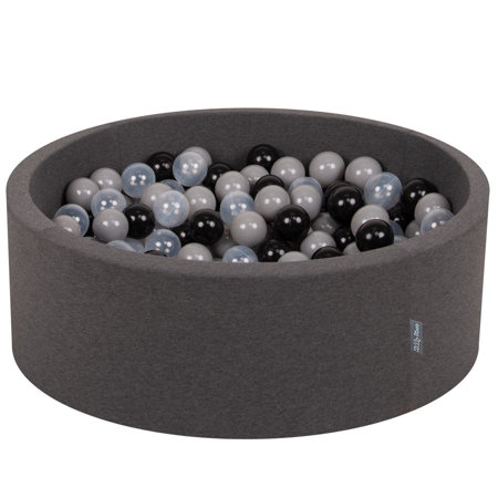 KiddyMoon Baby Foam Ball Pit with Balls 7cm /  2.75in Certified, Dark Grey: Black/ Grey/ Transparent