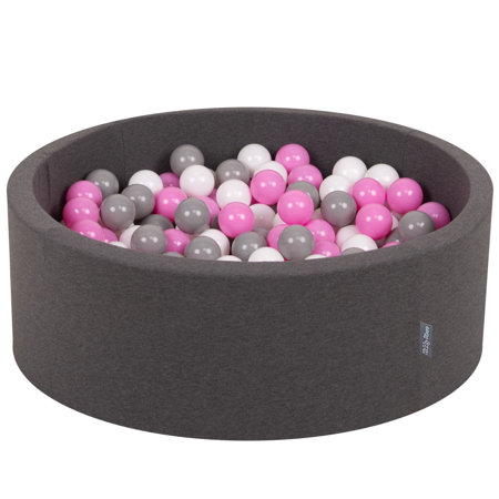 KiddyMoon Baby Foam Ball Pit with Balls 7cm / 2.75in Certified, Dark Grey:Grey/White/Pink