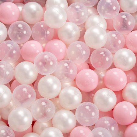 KiddyMoon Baby Foam Ball Pit with Balls ∅ 7cm / 2.75in Certified, Dark Grey:Light Pink-Pearl-Transparent