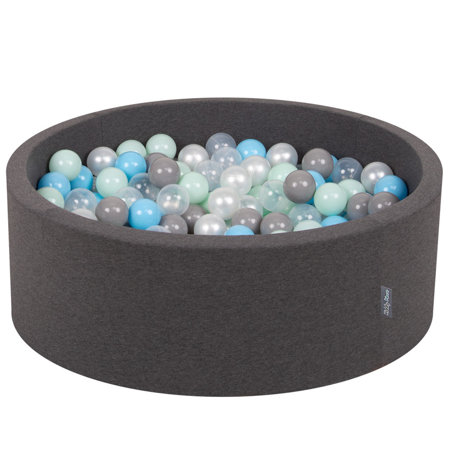 KiddyMoon Baby Foam Ball Pit with Balls 7cm /  2.75in Certified, Dark Grey: Pearl/ Grey/ Transparent/ Baby Blue/ Mint