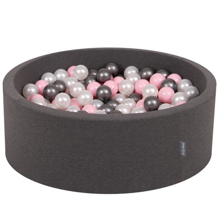 KiddyMoon Baby Foam Ball Pit with Balls 7cm / 2.75in Certified, Dark Grey:Pearl/Light Pink/Silver