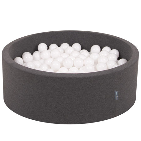 KiddyMoon Baby Foam Ball Pit with Balls 7cm /  2.75in Certified, Dark Grey: White