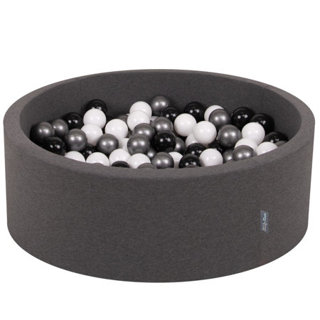 KiddyMoon Baby Foam Ball Pit with Balls ∅ 7cm / 2.75in Certified, Dark Grey:White/Black/Silver