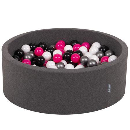 KiddyMoon Baby Foam Ball Pit with Balls ∅ 7cm / 2.75in Certified, Dark Grey:White/Black/Silver/Dark Pink