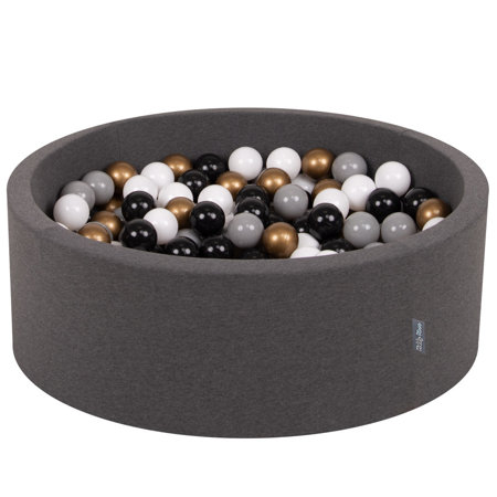 KiddyMoon Baby Foam Ball Pit with Balls ∅ 7cm / 2.75in Certified, Dark Grey:White/Grey/Black/Gold