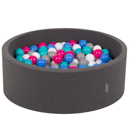 KiddyMoon Baby Foam Ball Pit with Balls 7cm /  2.75in Certified, Dark Grey: White/ Grey/ Blue/ D Pink/ Lt Turquoise