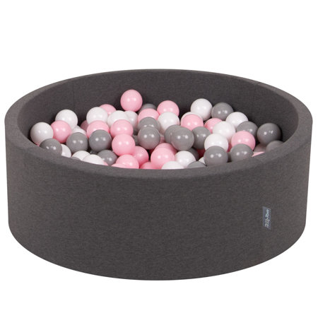 KiddyMoon Baby Foam Ball Pit with Balls 7cm / 2.75in Certified, Dark Grey:White/Grey/Light Pink