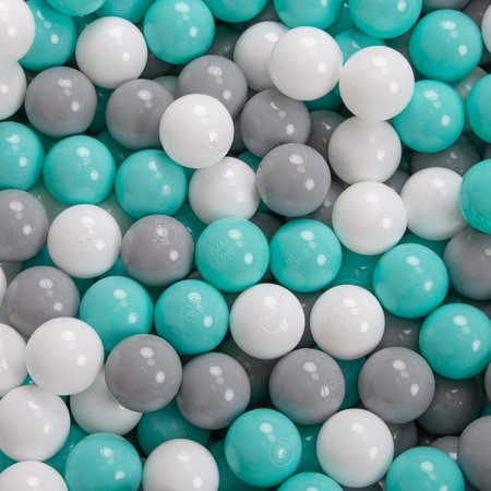 KiddyMoon Baby Foam Ball Pit with Balls 7cm /  2.75in Certified, Dark Grey: White/ Grey/ Light Turquoise