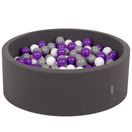 KiddyMoon Baby Foam Ball Pit with Balls 7cm /  2.75in Certified, Dark Grey: White/ Grey/ Purple