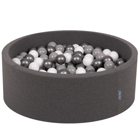 KiddyMoon Baby Foam Ball Pit with Balls 7cm /  2.75in Certified, Dark Grey: White/ Grey/ Silver