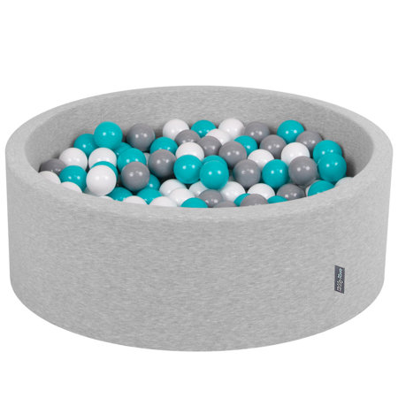 KiddyMoon Baby Foam Ball Pit with Balls ∅ 7cm / 2.75in Certified, Light Grey: Grey/ White/ Turquoise