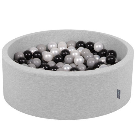 KiddyMoon Baby Foam Ball Pit with Balls 7cm / 2.75in Certified, Light Grey, Light Grey:Black/Grey/Pearl