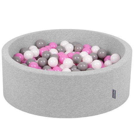 KiddyMoon Baby Foam Ball Pit with Balls ∅ 7cm / 2.75in Certified, Light Grey, Light Grey:Grey-White-Pink