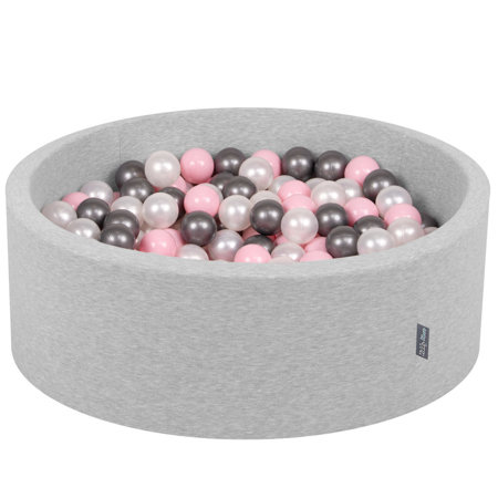 KiddyMoon Baby Foam Ball Pit with Balls 7cm / 2.75in Certified, Light Grey, Light Grey:Pearl/Light Pink/Silver
