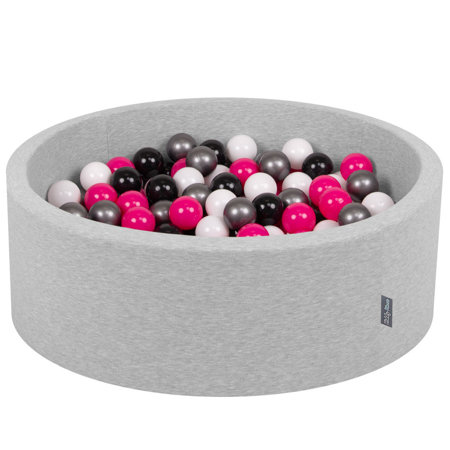 KiddyMoon Baby Foam Ball Pit with Balls 7cm /  2.75in Certified, Light Grey, Light Grey: White/ Black/ Silver/ Dark Pink