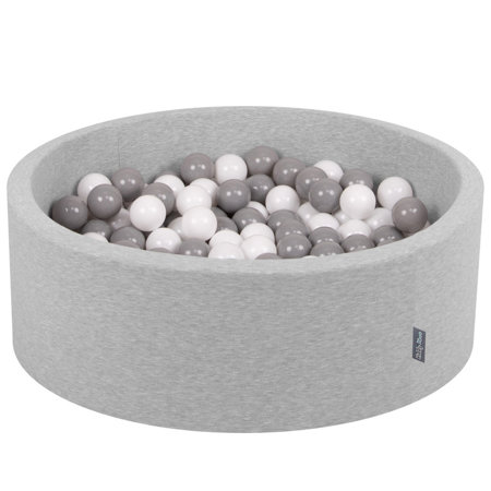 KiddyMoon Baby Foam Ball Pit with Balls 7cm /  2.75in Certified, Light Grey, Light Grey: White/ Grey