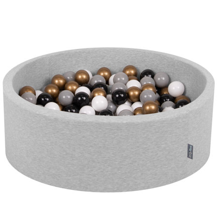 KiddyMoon Baby Foam Ball Pit with Balls 7cm / 2.75in Certified, Light Grey, Light Grey:White/Grey/Black/Gold