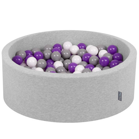 KiddyMoon Baby Foam Ball Pit with Balls 7cm /  2.75in Certified, Light Grey, Light Grey: White/ Grey/ Purple