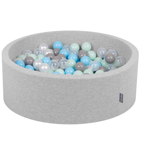 KiddyMoon Baby Foam Ball Pit with Balls ∅ 7cm / 2.75in Certified, Light Grey:Pearl-Grey-Transparent-Baby Blue-Mint