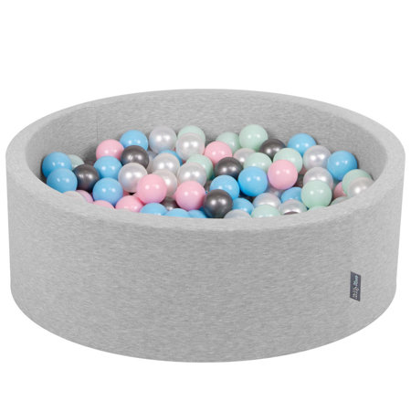 KiddyMoon Baby Foam Ball Pit with Balls ∅ 7cm / 2.75in Certified, Light Grey: Pearl/ Light Pink/ Baby Blue/ Mint/ Silver