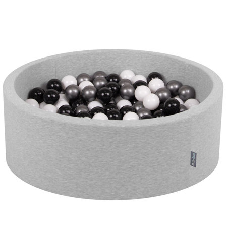 KiddyMoon Baby Foam Ball Pit with Balls ∅ 7cm / 2.75in Certified, Light Grey:White-Black-Silver