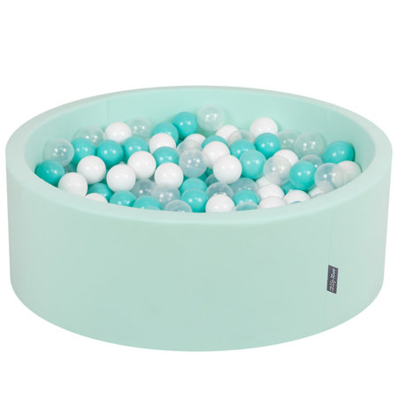KiddyMoon Baby Foam Ball Pit with Balls 7cm /  2.75in Certified, Mint: Light Turquoise/ White/ Transparent