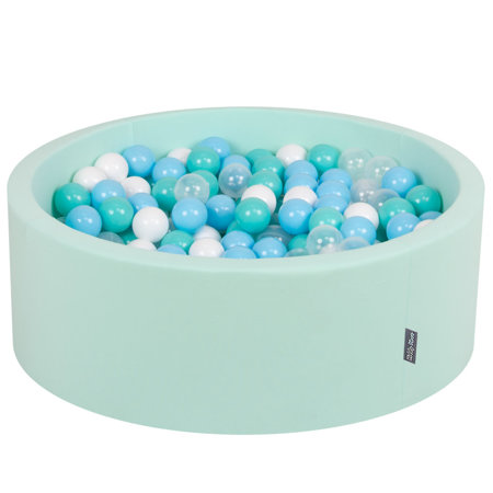 KiddyMoon Baby Foam Ball Pit with Balls 7cm /  2.75in Certified, Mint: Light Turquoise/ White/ Transparent/ Baby Blue