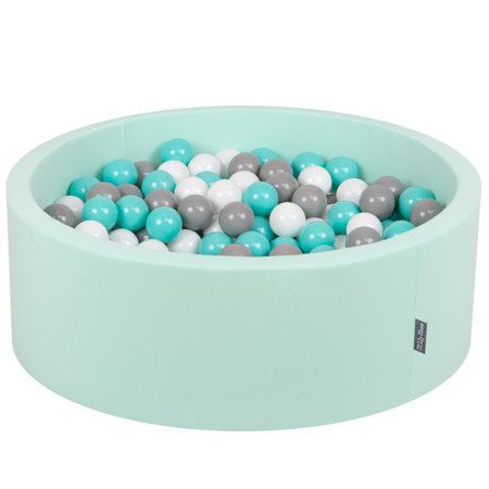 KiddyMoon Baby Foam Ball Pit with Balls 7cm / 2.75in Certified, Mint:White/Grey/Light Turquoise