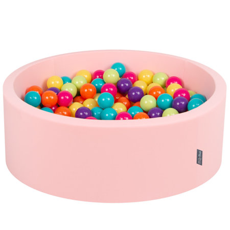 KiddyMoon Baby Foam Ball Pit with Balls ∅ 7cm / 2.75in Certified, Pink:L.Green-Yellow-Turquoise-Orange-D.Pink-Purple