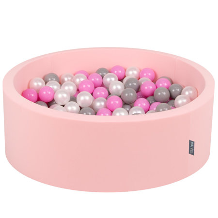 KiddyMoon Baby Foam Ball Pit with Balls 7cm /  2.75in Certified, Pink: Pearl/ Grey/ Pink