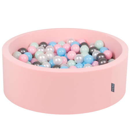 KiddyMoon Baby Foam Ball Pit with Balls 7cm /  2.75in Certified, Pink: Pearl/ Light Pink/ Baby Blue/ Mint/ Silver