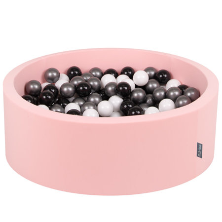 KiddyMoon Baby Foam Ball Pit with Balls 7cm /  2.75in Certified, Pink: White/ Black/ Silver