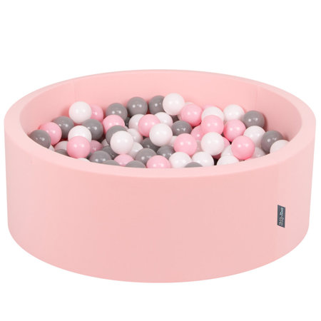 KiddyMoon Baby Foam Ball Pit with Balls 7cm /  2.75in Certified, Pink: White/ Grey/ Light Pink