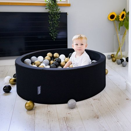 KiddyMoon Baby Foam Ball Pit with Balls 7cm /  2.75in Quarter Angular, Black: White/ Grey/ Black/ Gold